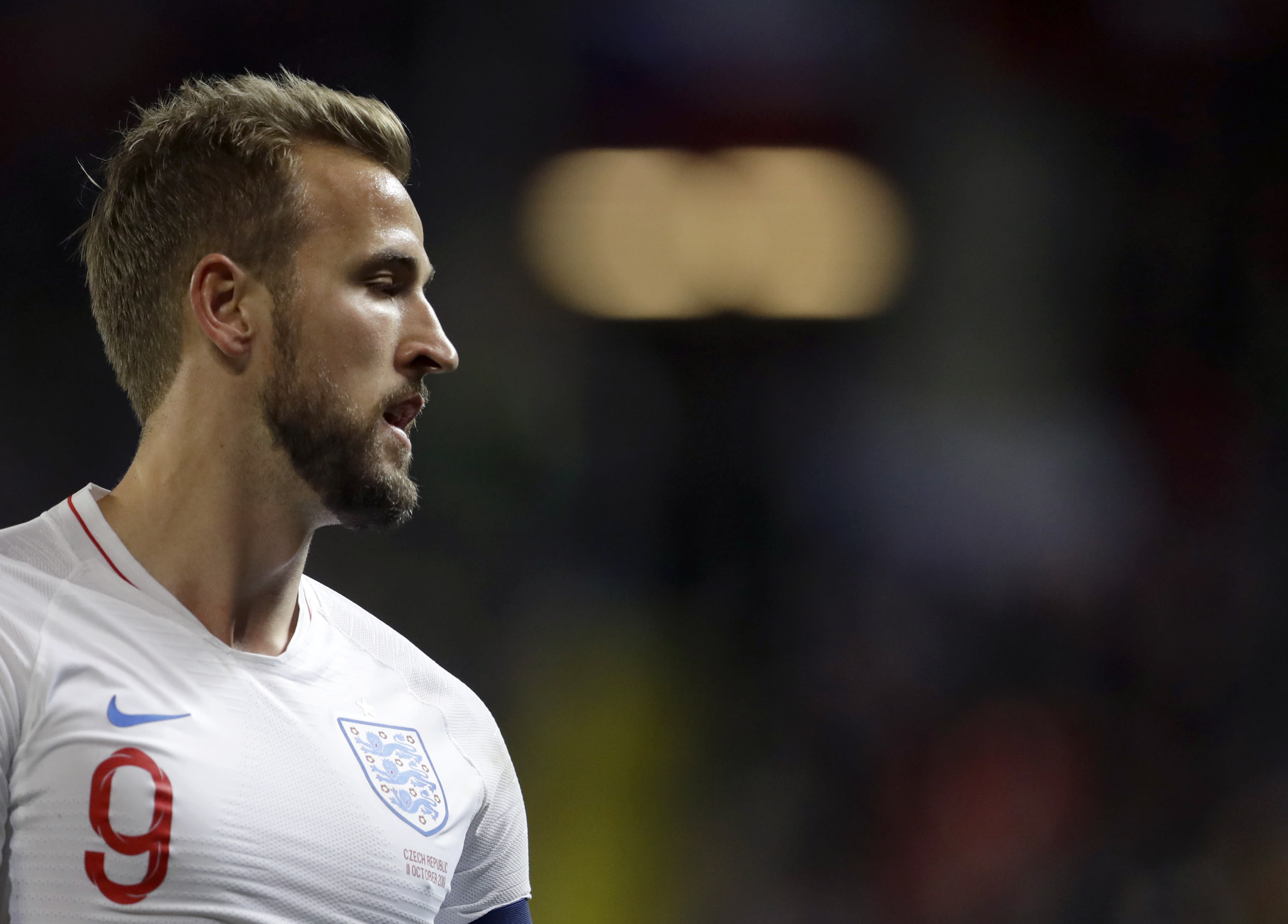 England's Harry Kane looks out during the Euro 2020 group A qualifying soccer match between Czech Republic and England at the Sinobo stadium in Prague, Czech Republic, Friday, Oct. 11, 2019. (AP Photo/Petr David Josek)