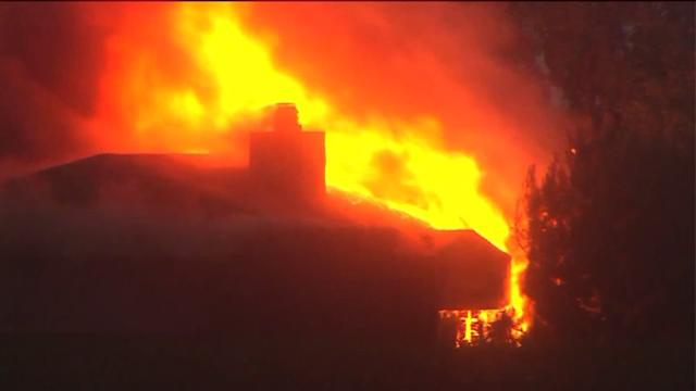 House Hit By Lightning, Engulfed in Flames
