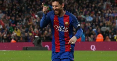 Foot - ESP - Barça - Le Camp Nou acclame Messi après son 500e but