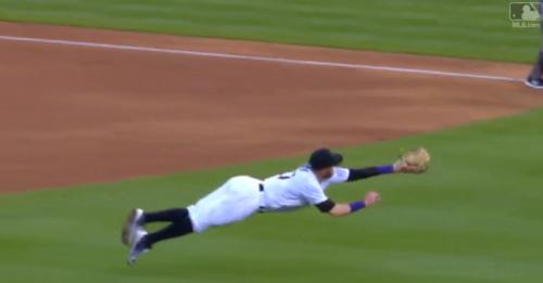Rockies shortstop Trevor Story came through with a huge play Thursday. (MLB.com Screenshot)