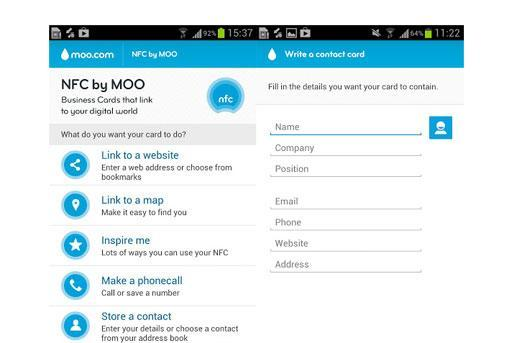 Moo's NFC tagging app hits Google Play, NFC business card not required