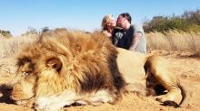 Canadian couple face backlash for kissing safari photo with dead lion