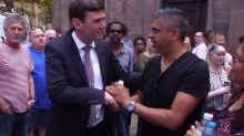 Hugs, tears and applause when proud British Muslim meets Manchester mayor