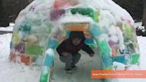 New Jersey Family Builds Incredible Colorful Igloo During Polar Vortex