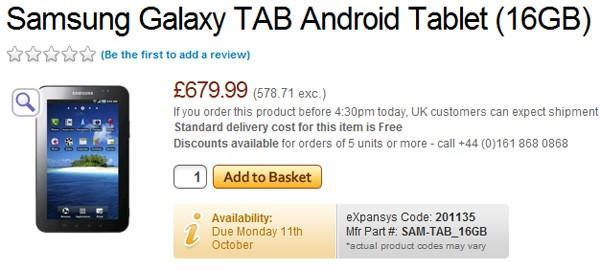 Samsung Galaxy Tab reported to retail at €699 and €799 in Europe (update: O2 Germany pricing)