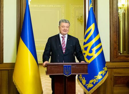 Ukrainian President Petro Poroshenko makes a statement on a new national independent church in Kiev, Ukraine November 29, 2018. Mykhailo Markiv/Ukrainian Presidential Press Service/Handout via REUTERS