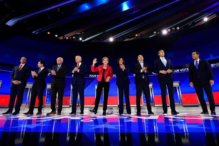 The October 15, 2019 Democratic presidential debate will be more crowded than September's event shown here, as 12 candidates will take the stage vying for the opportunity to challenge President Donald Trump in the 2020 election (AFP Photo/Frederic J. BROWN)