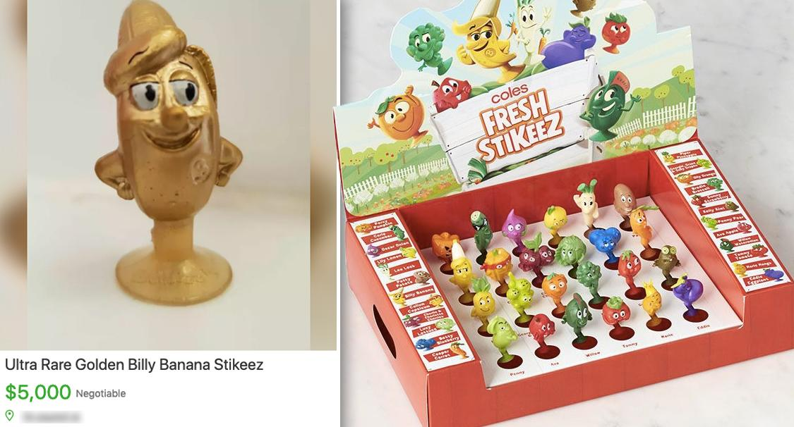 Coles rare golden banana Fresh Stikeez selling online for thousands