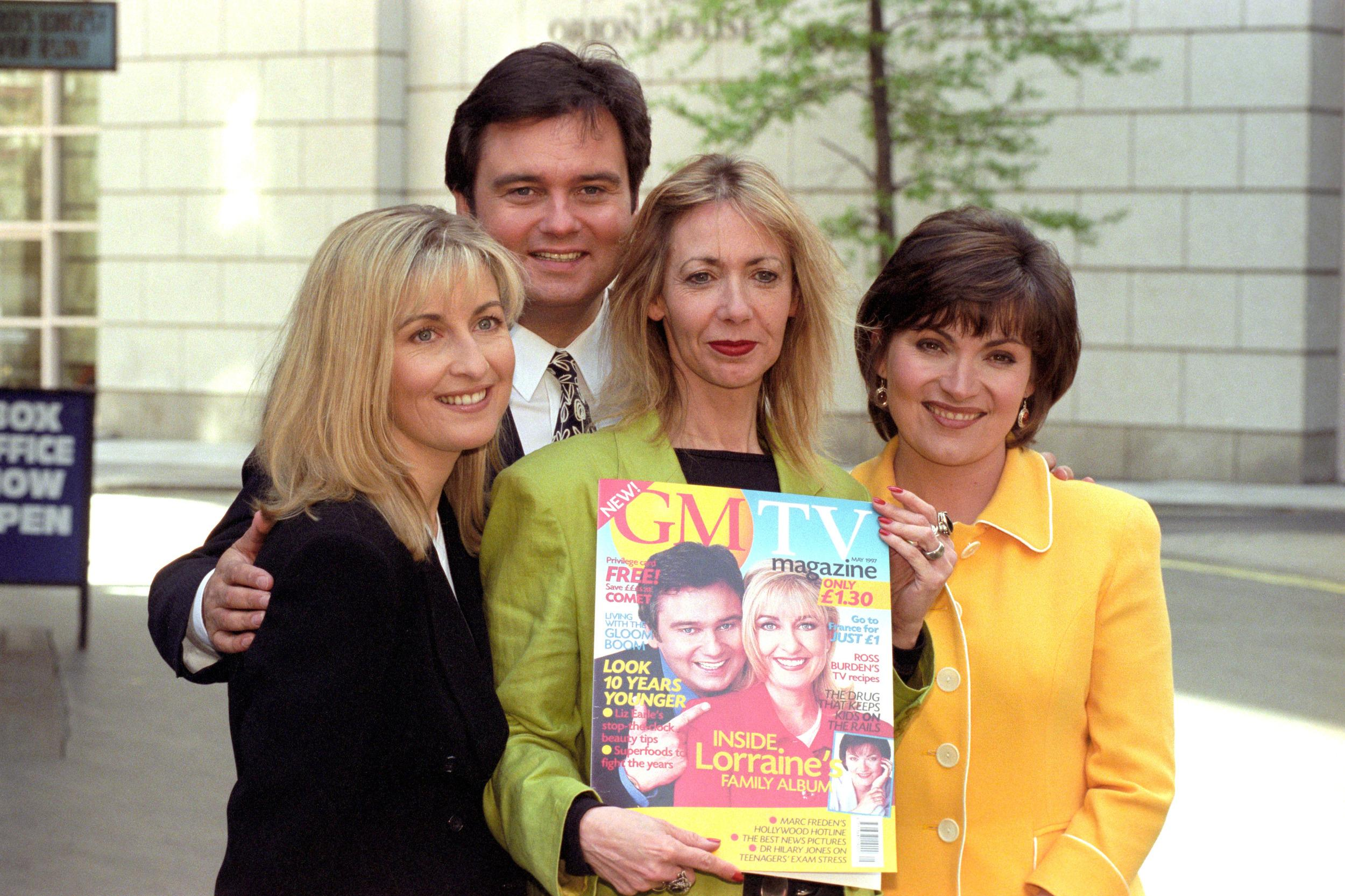 GMTV PRESENTERS FIONA PHILLIPS (l) EAMONN HOLMES (2nd l) and Lorraine Kelly (r) AT THE LAUNCH OF THEIR NEW MONTHLY MAGAZINE IN LONDON. THE MAGAZINE WILL OFFER READERS THE CHANCE TO LEARN MORE ABOUT THEIR FAVOURITE TV PROGRAMMES.