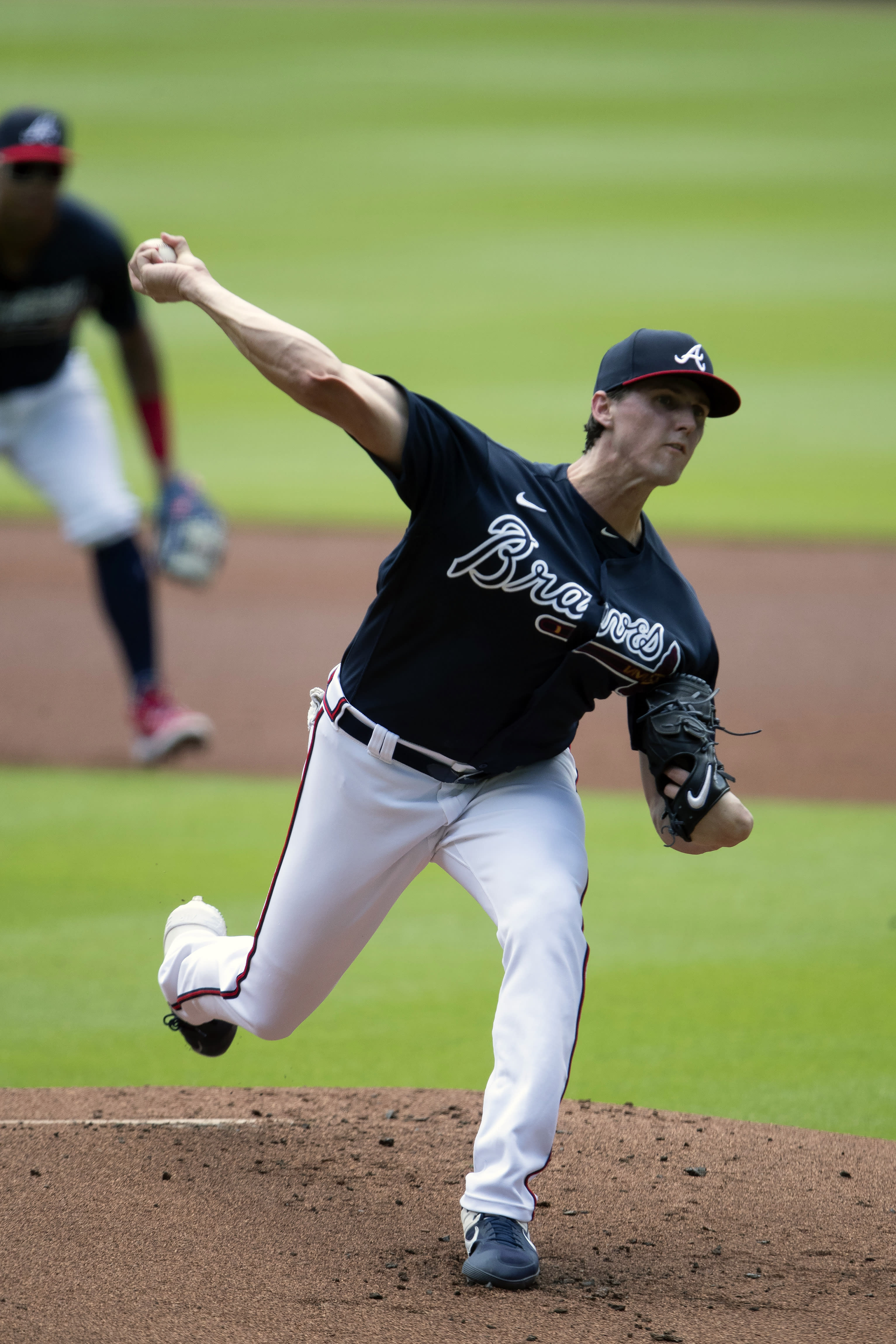 Atlanta Braves starting pitcher Kyle Wright (30) delivers during an intra squad baseball game Thursday, July 16, 2020, in Atlanta. (AP Photo/John Bazemore)