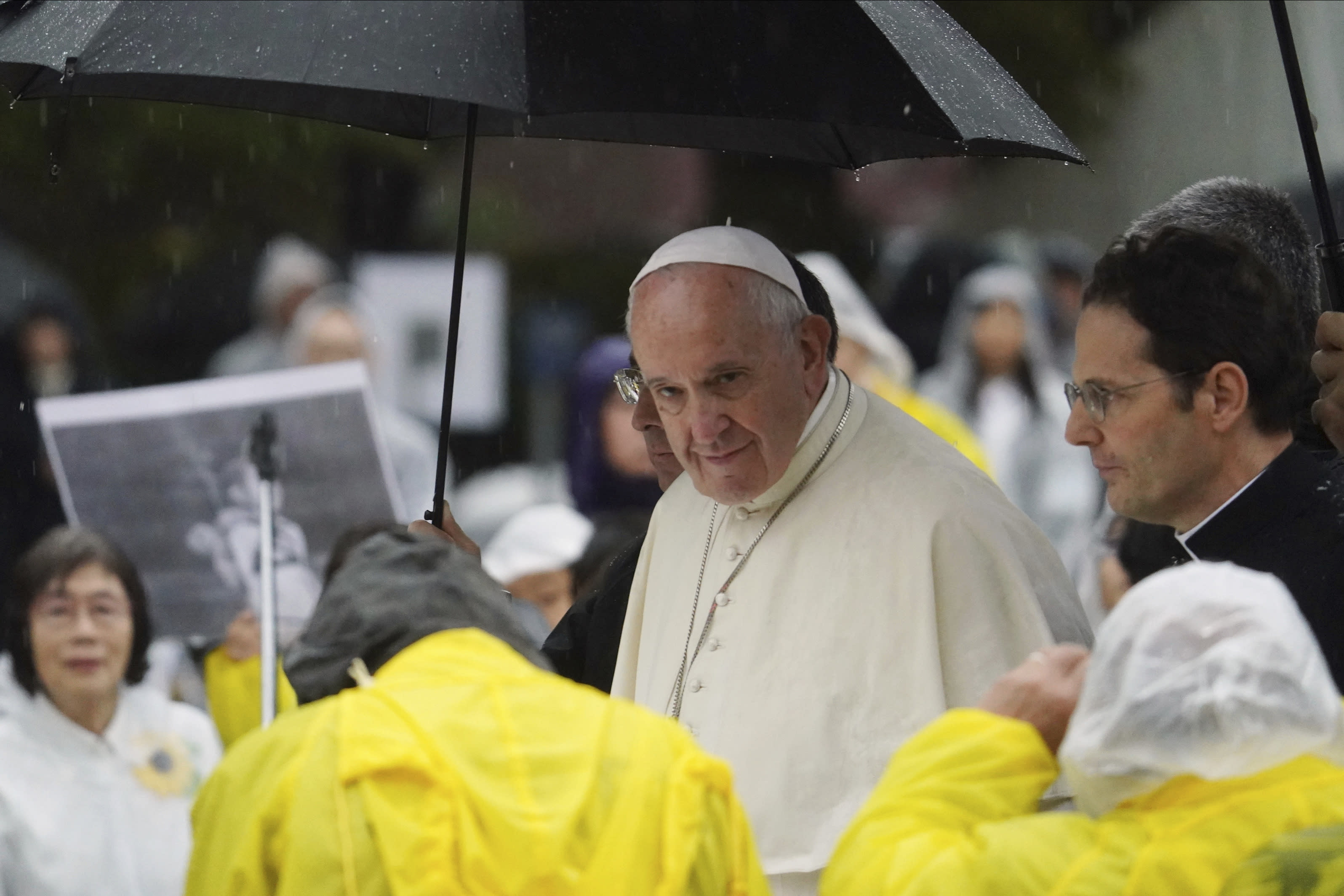Pope Francis leaves the Atomic Bomb Hypocenter Park after delivering his speech, Sunday, Nov. 24, 2019, in Nagasaki, Japan. (AP Photo/Eugene Hoshiko)