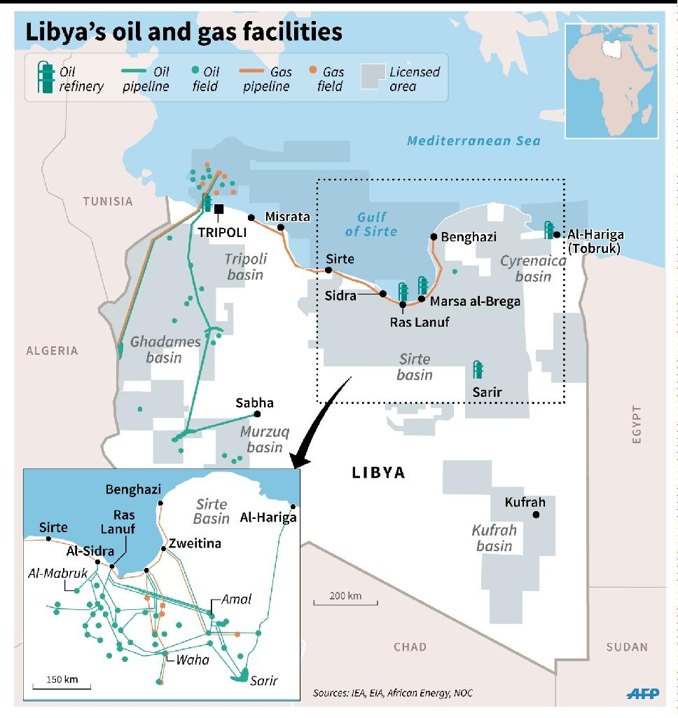 Map of Libya showing oil and gas ports, fields and pipelines and oil refineries (AFP Photo/Kun Tian)