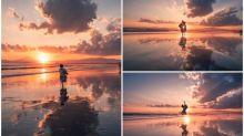 日本江之島超靚夕陽 天空之鏡靚景Twitter熱傳