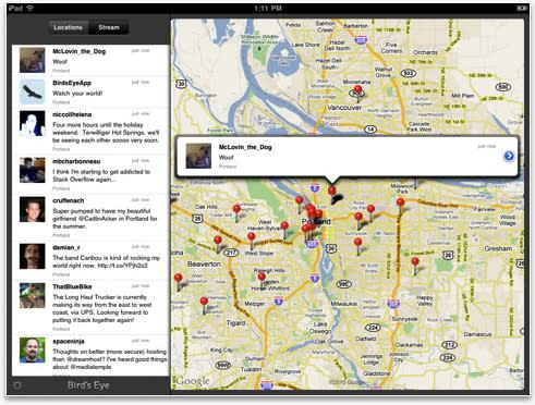 Bird's Eye iPad app lets you use Twitter while looking down on it