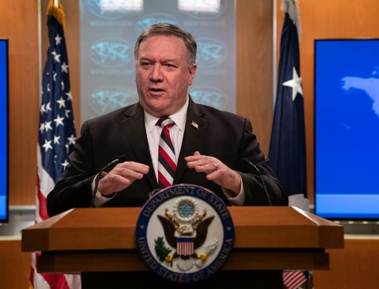 US Secretary of State Mike Pompeo speaks at a press conference at the State Department on March 17, 2020