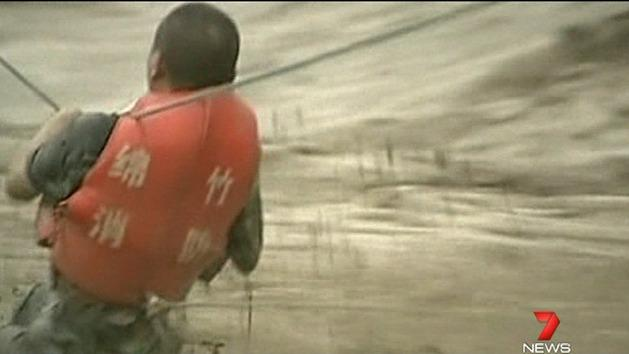 Dramatic floodwater rescue