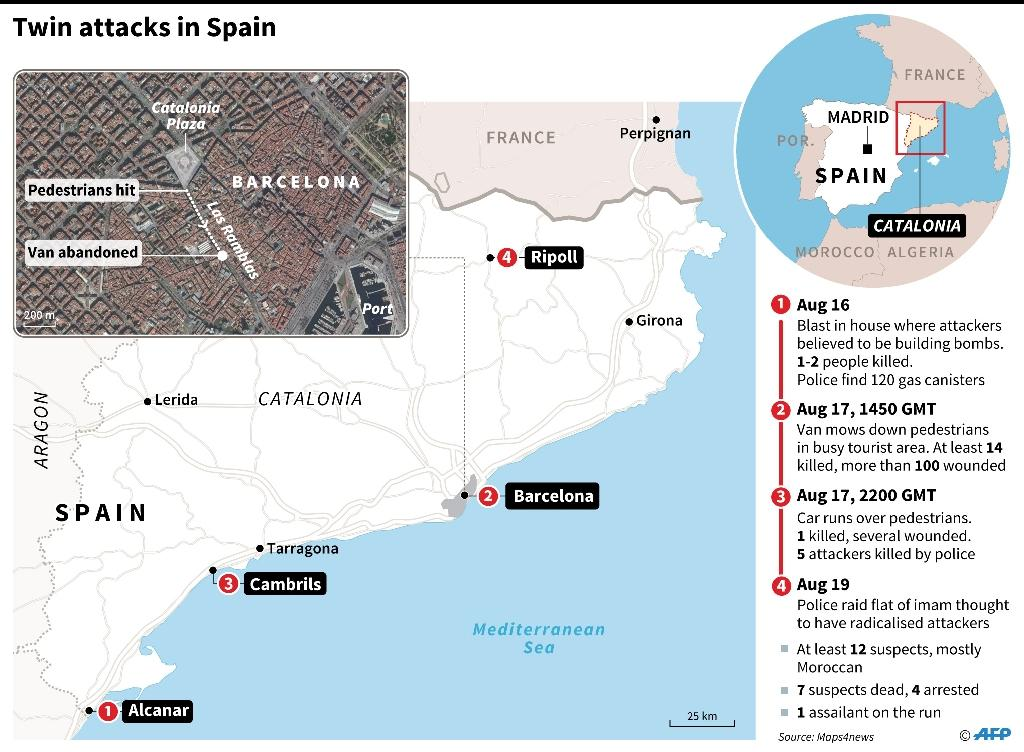 The two attacks in Spain killed a total of 15 people (AFP Photo/Iris ROYER DE VERICOURT)