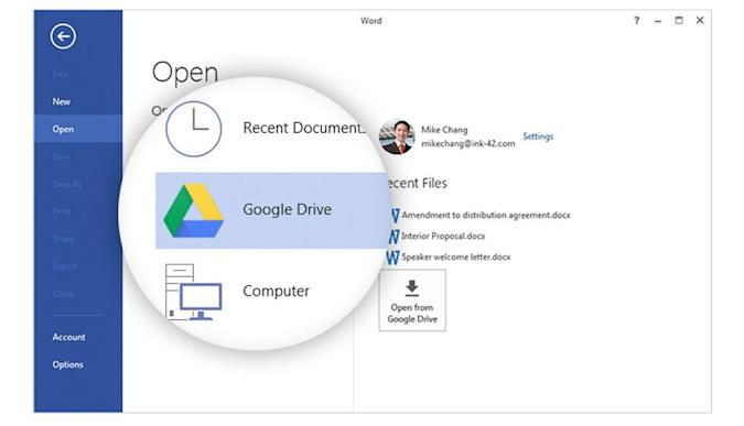 Google Drive syncs files directly from Windows Office apps