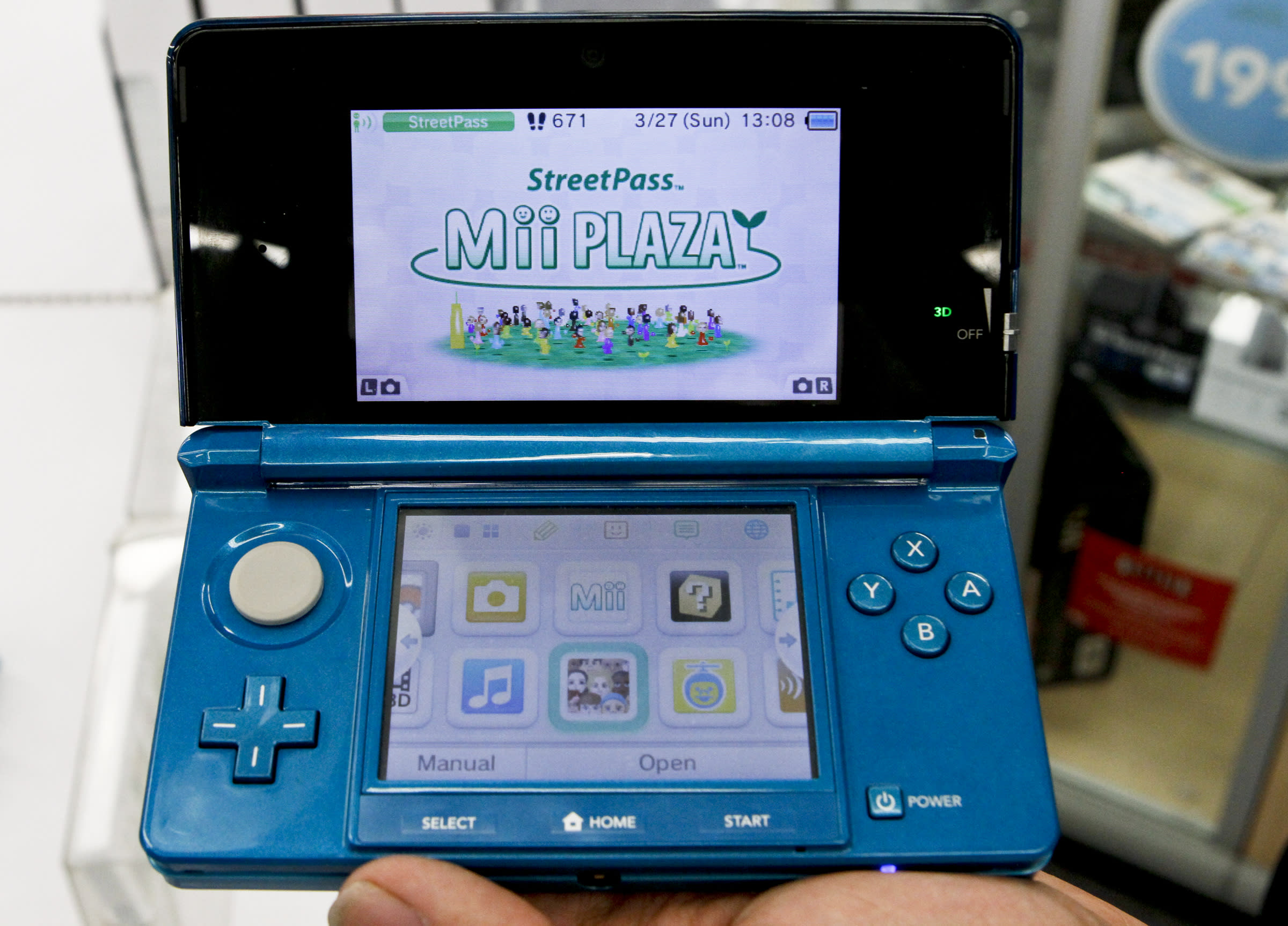 A closeup of the new 3D capable handheld Nintendo 3DS at Toys R Us in Culver City on March 27, 2011