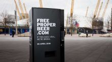 A vending machine is giving away free beer in London