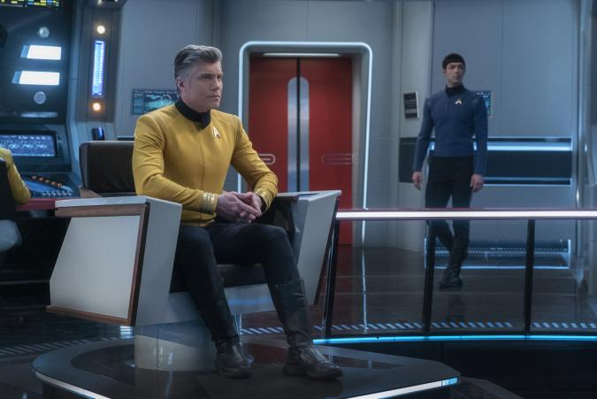 """""""Q&A"""" -- Episode SF #007 -- Pictured (l-r): Anson Mount as Captain Pike; Ethan Peck as Spock; of the the CBS All Access series STAR TREK: SHORT TREKS."""