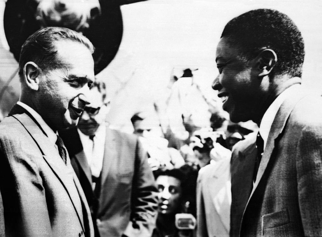 An 1960 photo captures a meeting between then-UN secretary-general Dag Hammarskjold and Moise Kapenda Tshombe, leader of the Katanga provincein what is nowthe Democratic Republic of the Congo (AFP Photo/)
