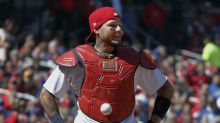 You can buy the baseball that got stuck to Yadier Molina's chest protector