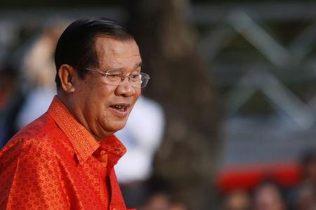 Cambodia's Prime Minister Hun Sen holds a ceremony at the Angkor Wat temple to pray for peace and stability in Cambodia, in Siem Reap