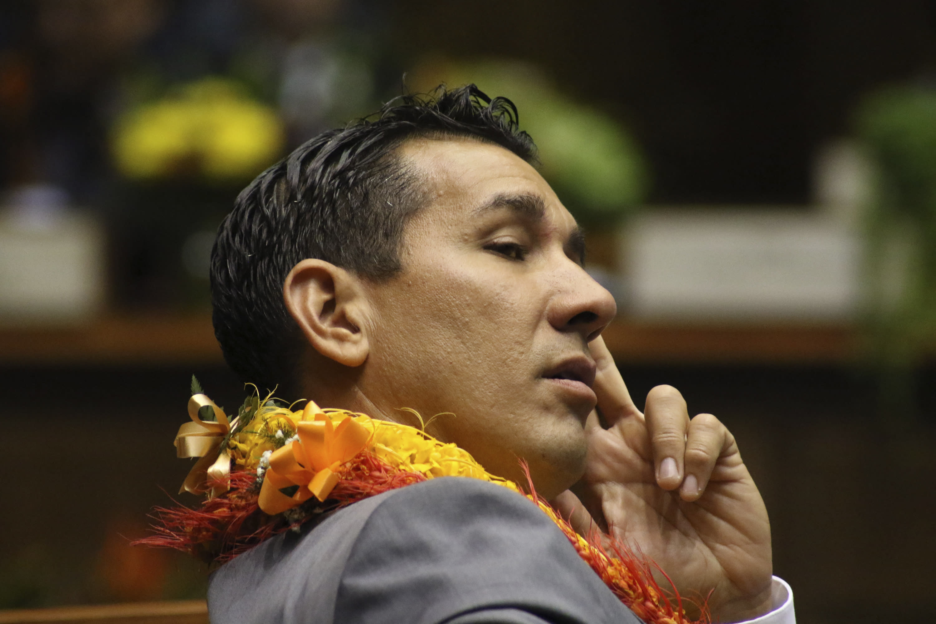 FILE -- In this Jan. 15, 2020 file photo, is state Sen. Kai Kahele at the opening day of the Hawaii Sate Legislature in Honolulu. Kahele is the only major candidate in the race to succeed U.S. Rep. Tulsi Gabbard, virtually guaranteeing he will be sworn in as Hawaii's newest congressman in January. (AP Photo/Audrey McAvoy, File)