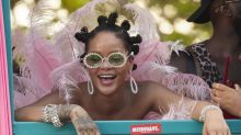 Rihanna steals the show with pink feather dress at Crop Over Festival in Barbados