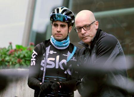 Team Sky chief Dave Brailsford talks to cyclist Mikel Landa of Spain before a training session in Alcudia, on the island of Mallorca