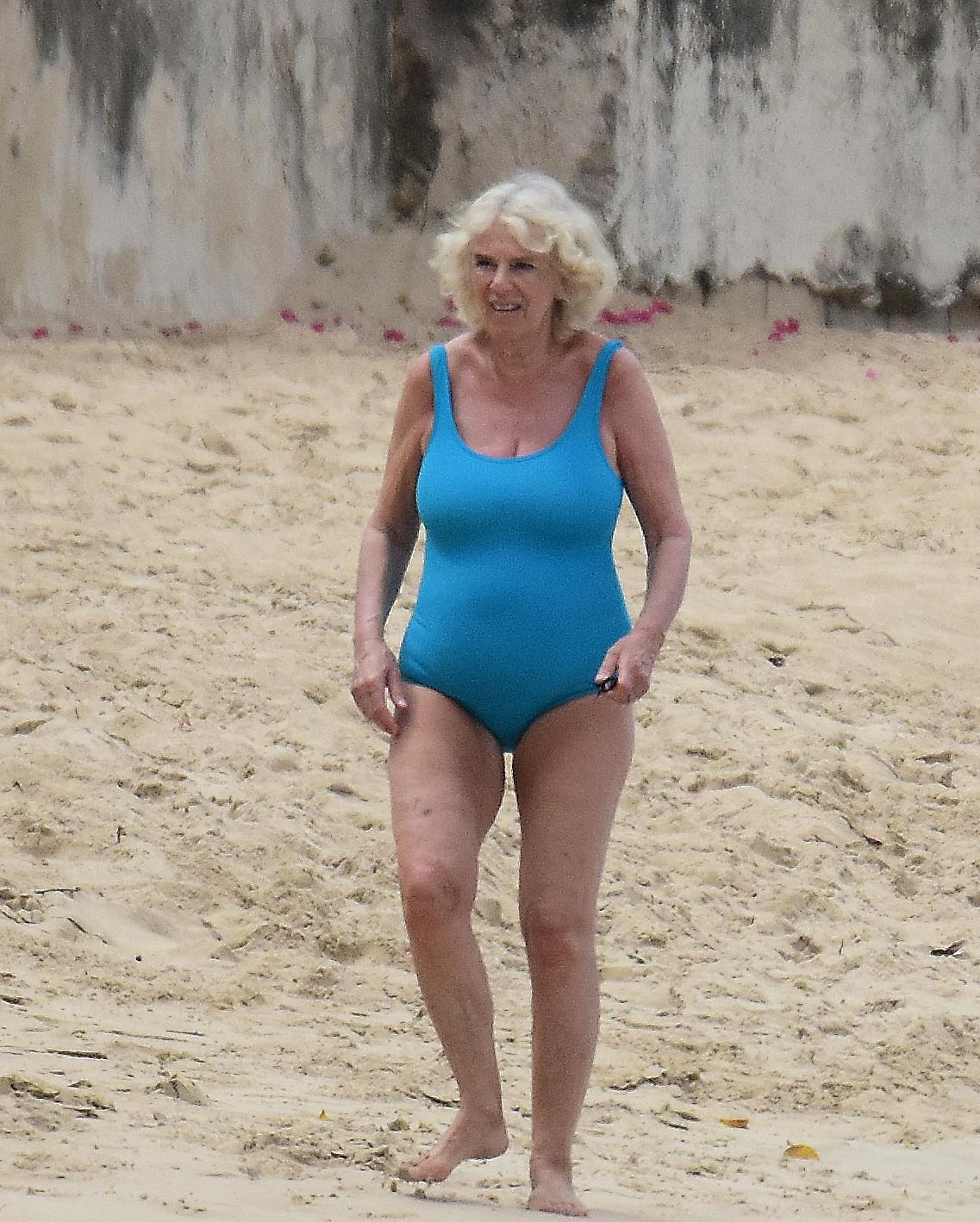 Camilla Parker-Bowles enjoys a dip during royal tour