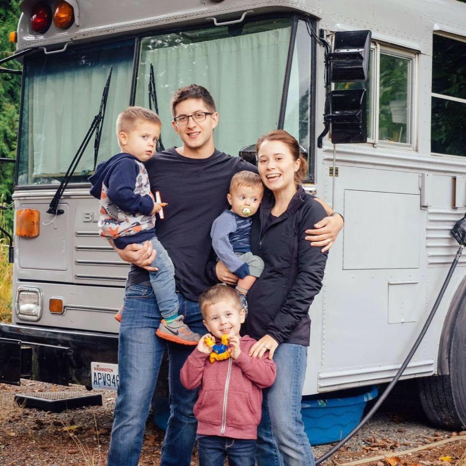 This couple was fed up with expensive rent, so they turned an old school bus into a home