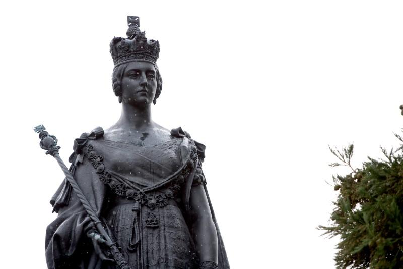 A statue of Queen Victoria is featured on the grounds of the B.C. provincial legislature in Victoria