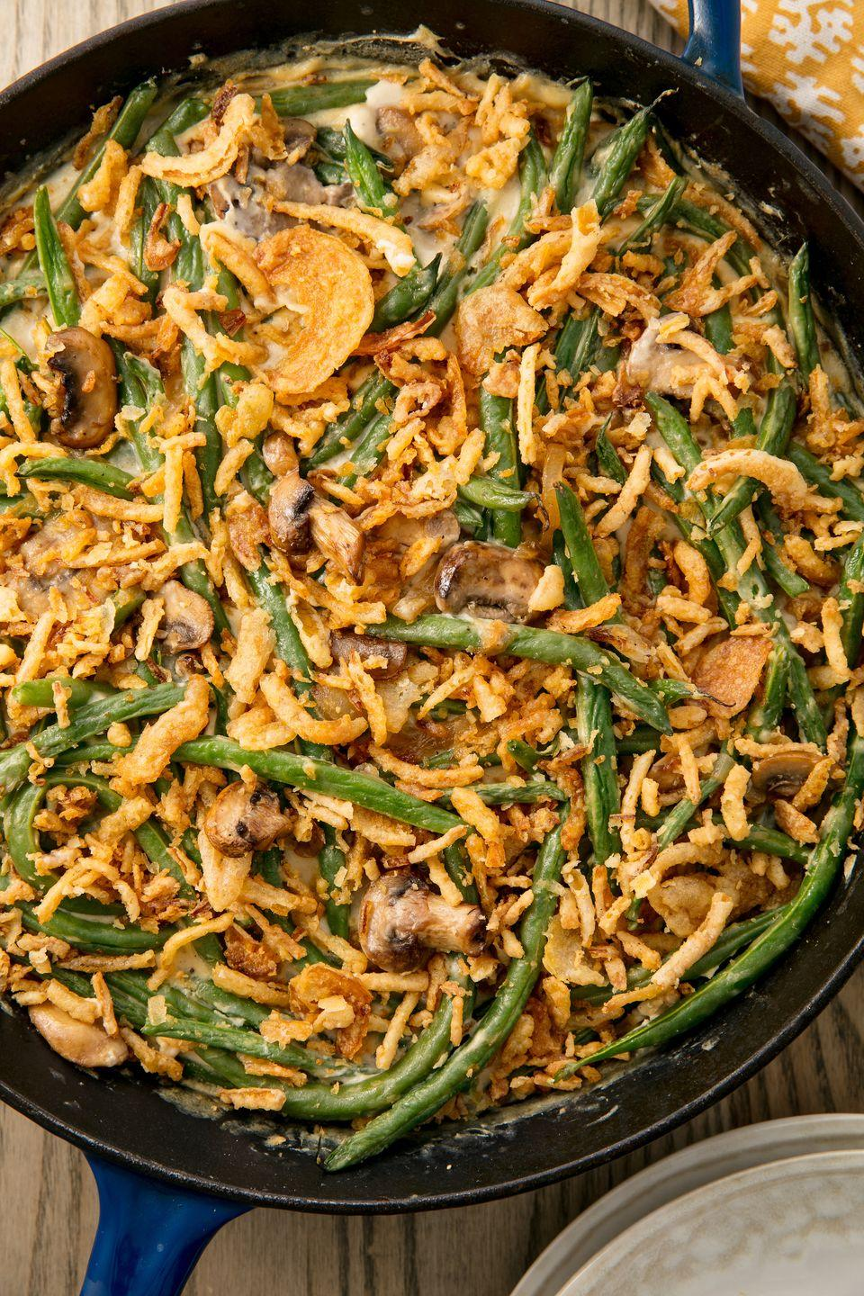 """<p>The epitome of Thanksgiving.</p><p>Get the recipe from <a href=""""https://www.delish.com/cooking/recipe-ideas/recipes/a55340/easy-homemade-classic-green-bean-casserole-recipe/"""" rel=""""nofollow noopener"""" target=""""_blank"""" data-ylk=""""slk:Delish"""" class=""""link rapid-noclick-resp"""">Delish</a>.</p>"""