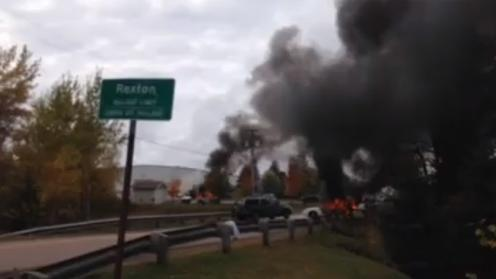 Police Vehicles Set Alight During Canadian Anti-Fracking Protest