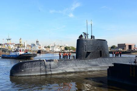 The Argentine military submarine ARA San Juan and crew are seen leaving the port of Buenos Aires, Argentina June 2, 2014. Picture taken on June 2, 2014. Armada Argentina/Handout via REUTERS