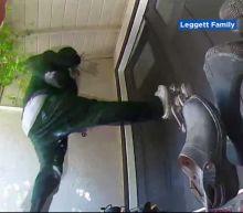 Video shows burglars kick in California family's front door, before being scared away