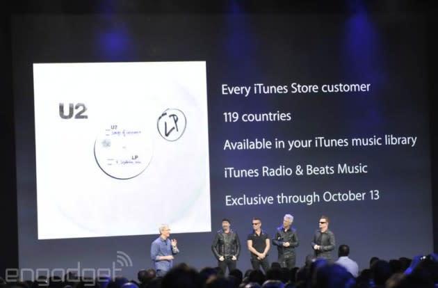 Apple is giving away U2's new album 'Songs of Innocence' on iTunes