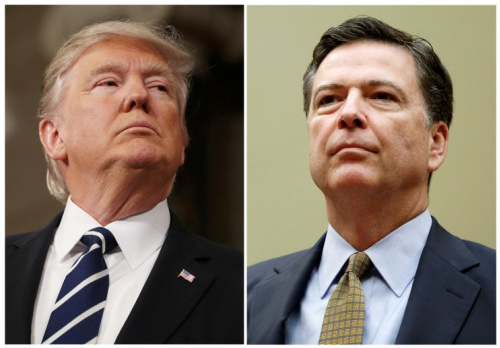 President Trump, left, and former FBI Director James Comey