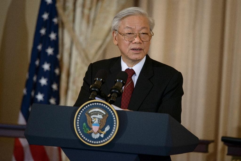 Vietnamese Communist Party General Secretary Nguyen Phu Trong speaks before a luncheon at the US State Department on July 7, 2015 in Washington, DC (AFP Photo/Brendan Smialowski)