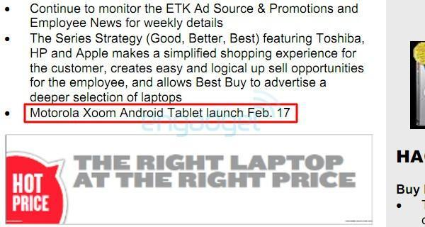 Motorola Xoom launching February 17th at Best Buy (update: priced at $700)
