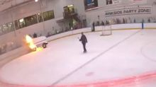 Zamboni bursts into flames while cleaning ice after hockey practice in NY, video shows