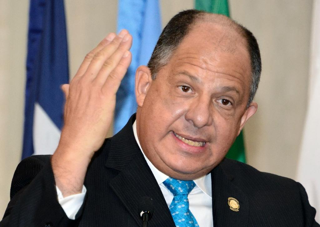 Costa Rican President Luis Guillermo Solis speaks during the inauguration of the 2016 Conference of Central American Security, in San Jose, Costa Rica, on April 7, 2016