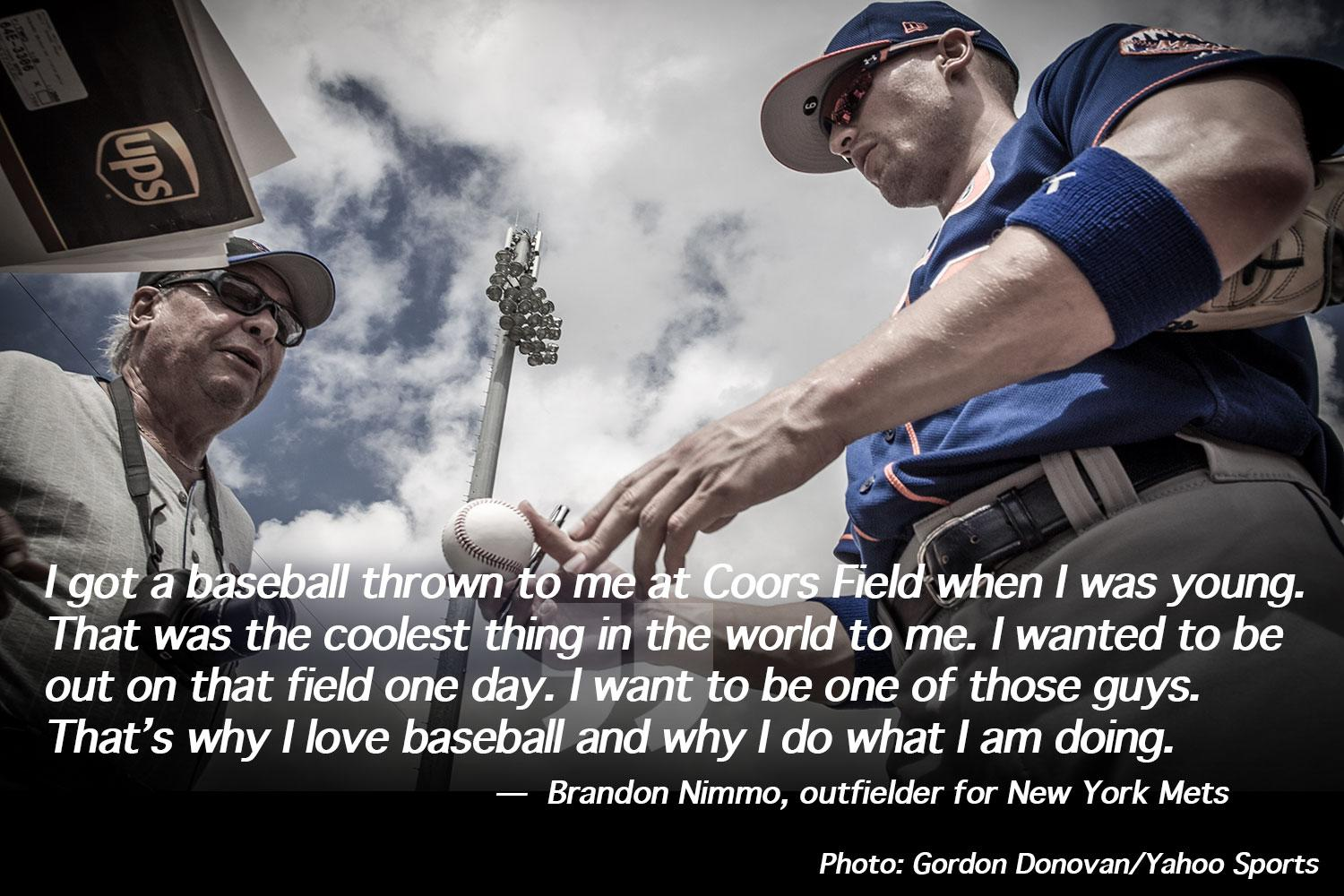 <p>New York Mets prospect Brandon Nimmo signs for fans after workouts at at the Mets spring ttraining complex in Port St. Lucie, Fl., Saturday, Feb. 25, 2017. (Gordon Donovan/Yahoo Sports) </p>
