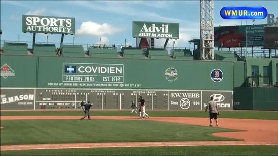Kevin Gray hits double at Fenway Park media game