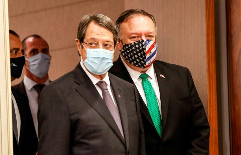 US Secretary of State Mike Pompeo(R) and Cypriot President Nicos Anastasiades held a joint press conference in Nicosia during the US top diplomats brief stopover