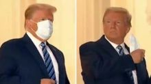 Trump Removes Mask at White House After Leaving Hospital