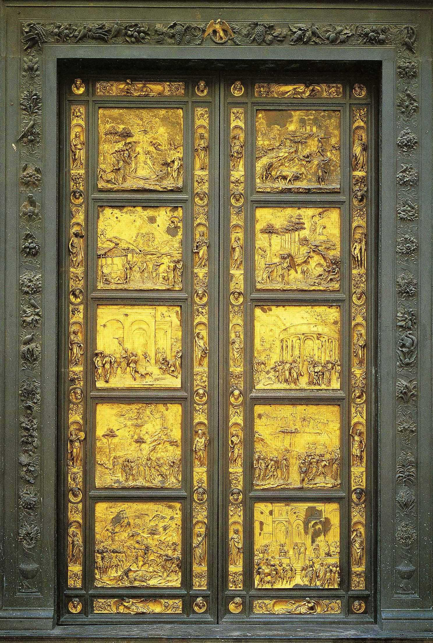 """In this undated photo provided by the Opera di Santa Maria del Fiore, a copy of the original panel of the """"Door of Paradise"""" is seen in Florence, Italy. The original gilded bronze door, so splendid it was dubbed the """"Door of Paradise"""" by Michelangelo, will be seen again in Florence after 27 years of restoration to remove damage by pollution, vandalism and the wear and tear of centuries. But Lorenzo Ghiberti's 15th-century door won't be going back in its place on the baptistry of Florence's duomo, or cathedral. Starting in September, it will go on display in a Florence museum, Museo dell'Opera di Santa Maria del Fiore, to preserve it from renewed damage. (AP Photo/Opera di Santa Maria del Fiore)"""