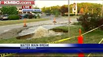 Water main break left gushing with hotels nearby